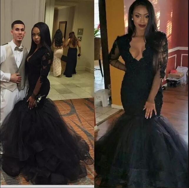New Arabic Beaded Mermaid Black Lace Evening Dress kadisua 2017 V-neck Long Sleeves Appliques Elegant Prom evening Party dresses