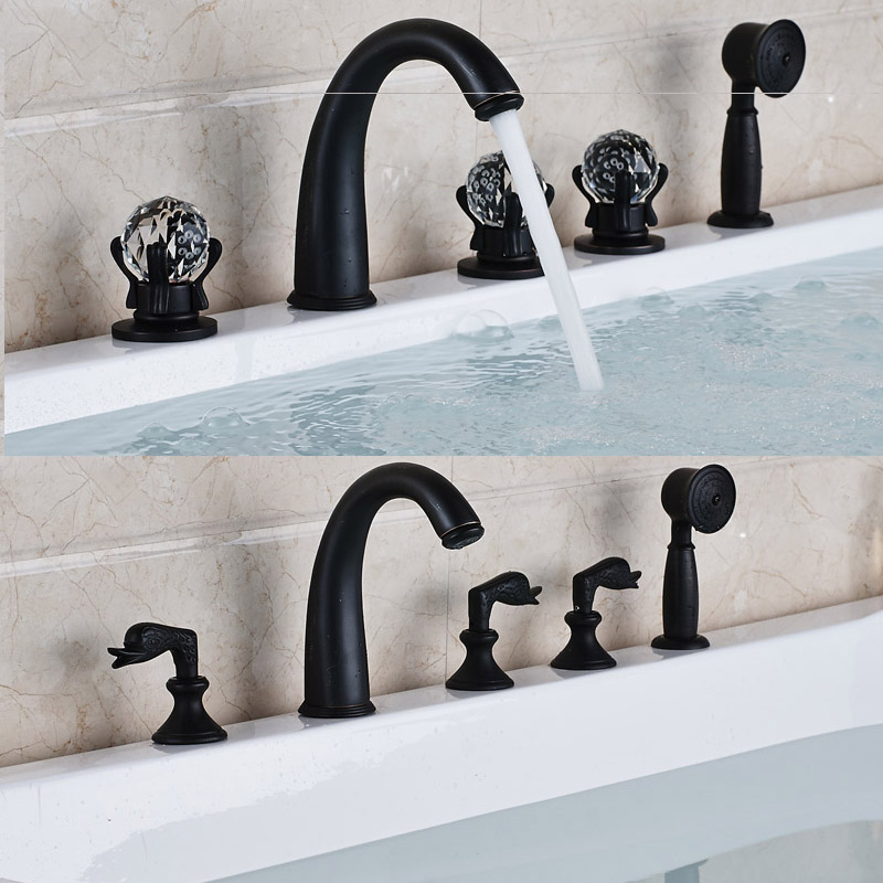 deck mounted nero 5 pz cristallo maniglie vasca da bagno rubinetto rubinetti deck mounted bagno bagno