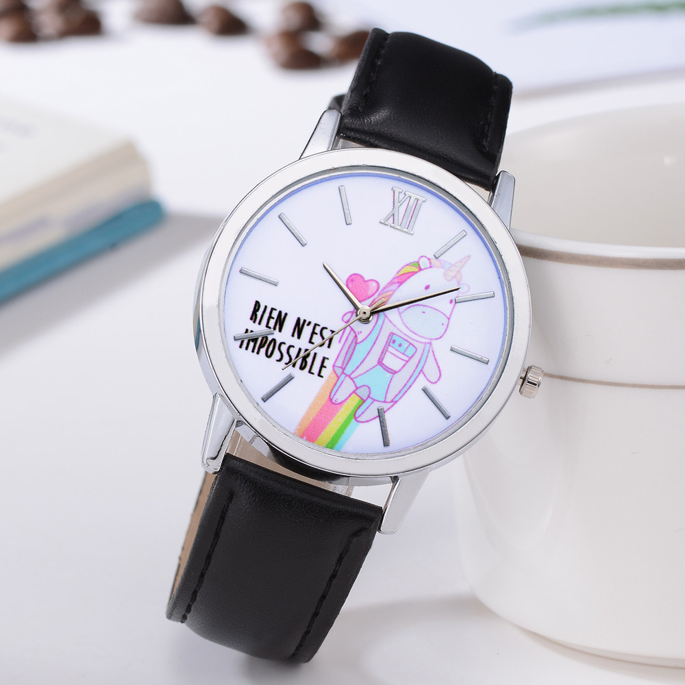 Fashion Women Chic Cartoon Wrist watch Cute Unicorn Animal Cartoon Dial Leather Band Analog Alloy Quartz watch Relogio Feminino cartoon animal women watch
