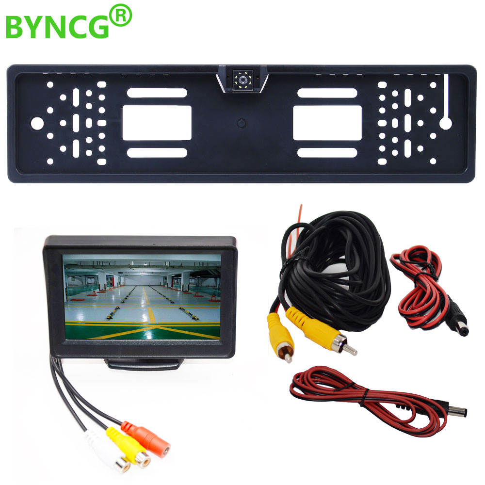 4.3TFT Car Monitor + Rear View Camera Waterproof EU European License Plate Frame Parktronic Reverse Night Vision Backup Camera