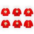 2017 Hight Quality Niños Rojos Abrigos de invierno moda niños niñas deporte sudaderas con capucha polar caliente ropa de los niños para el Año Nuevo Chino
