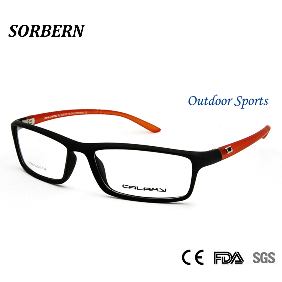 5e8faae51 SORBRN TR90 البلاستيك التيتانيوم الرجال النظارات البصرية الإطار البصرية  مربع الإطار الأسود البرتقال وصفة طبية إطارات