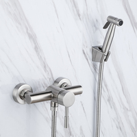 Convenient Brushed Nickel Stainless steel Handheld Bidet ,Toilet Portable Bidet Shower Set With Hot and Cold Water Bidet Mixer