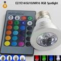 1 pcs RGB Lâmpada LED 9 W E27 E14 GU10 MR16 B22 16 Alterar cor Da Lâmpada spotlight AC85-265V com Controle Remoto IR led spot Livre grátis