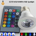 1pcs RGB LED Bulb 9W GU10 E27 E14 MR16 B22 16 Color Change Lamp spotlight AC85-265V with IR Remote led spot Free shipping