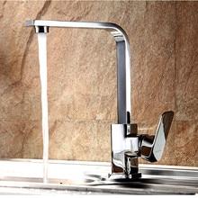 Латунь Хром Горячей и Холодной Воды Кухонный Кран вращения 360 градусов Новый Дизайн Одной ручкой