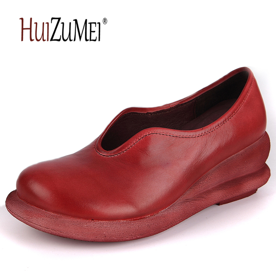 HUIZUMEI handmade retro genuine leather round toe casual pumps women autumn shoes huizumei new genuine leather women s boots autumn and winter shoes retro handmade round toe soft bottom rubber ankle ladies boot