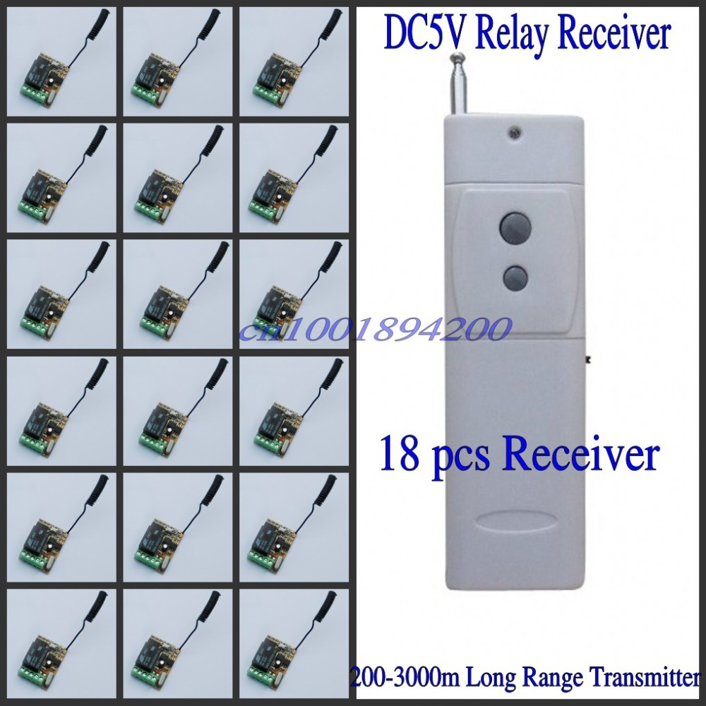 Remote Switch 5v DC 315/433mhz 18 Receiver 1 Transmitter RF Wireless Power Controller Light Lamp LED Remote Control Relay Switch 315 433mhz 12v 2ch remote control light on off switch 3transmitter 1receiver momentary toggle latched with relay indicator