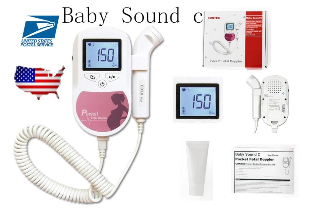 Pocket Fetal Doppler Color LCD Prenatal Heart Monitor Baby Sound C Pink Color Heart Rate+Gel Waveform CONTEC недорого