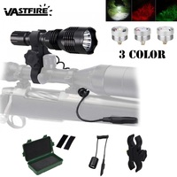 802 Portable LED Hunting Flashlight LED Torch White/Red/Green Color Flashlight 1000LM 1 Mode Light For 18650 NO Battery