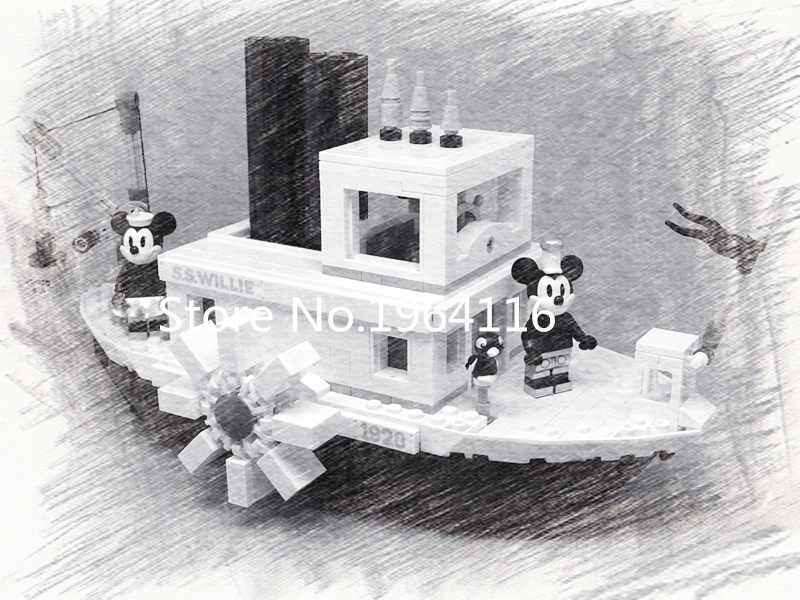 New Ideas series the Steamboat Willie model Building Blocks compatible 21317 classic Creator toy for children