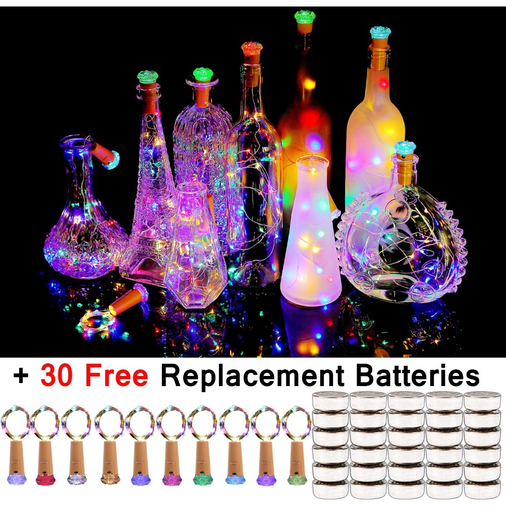 Hot Bottle Cork Lights 10 Pack Fairy Lights 30 Batteries Pre-installed+30 Free Battery Replacement Included Battery Operated LED