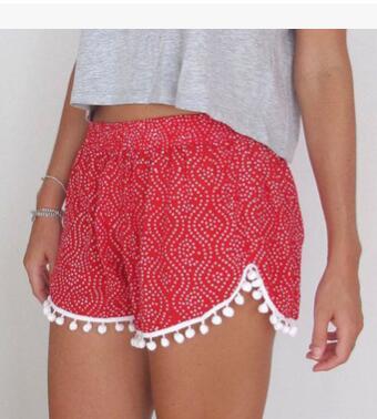10pcs/lot free shipping european style female print beach shorts lady casual cross-pants mid waist loose summer shorts