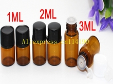 100pcs/lot Free Shipping 1ml 2ml 3ml Small Essential Oil Bottle amber Mini Glass Bottle  1CC brown Sample Vial