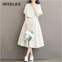 2016 Summer Dress Plus Size Women Clothing Cotton Linen Stripped Print Short Sleeve High Waist A