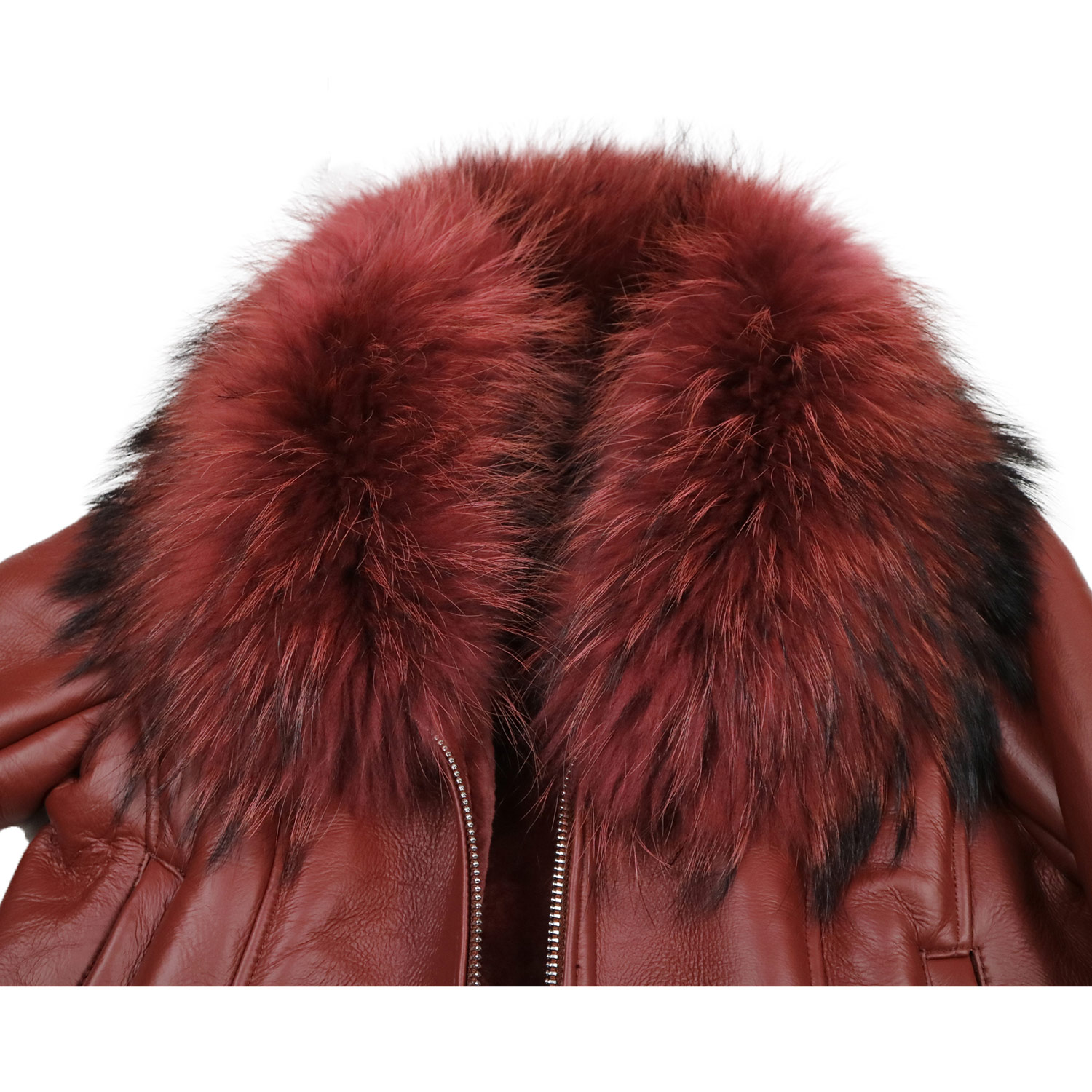 Women Real Double Faced Merino Sheep Fur Coat Winter Warm Fashion Genuine Leather Jacket Natural Large Raccoon Fur Collar Coat