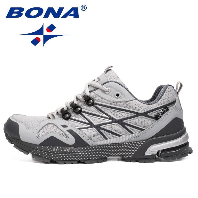 BONA Новый непромокаемый стиль мужские кроссовки уличные беговые прогулочные туфли мужские удобная спортивная обувь мягкие легкие Бесплатн...