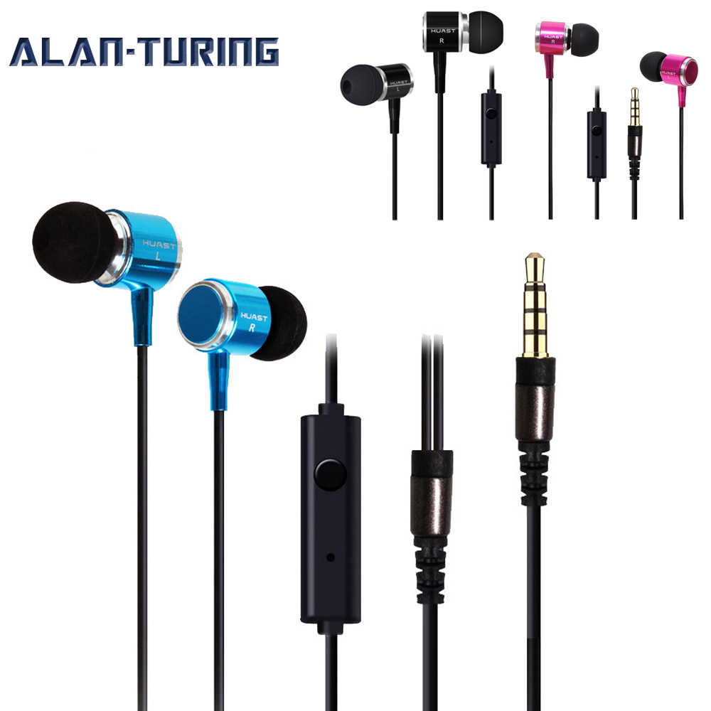 ALANTURING in ear bass metal case earphone with microphone for iPhone phone huawei xiaomi OPPO VIVO wired headset sound clarity