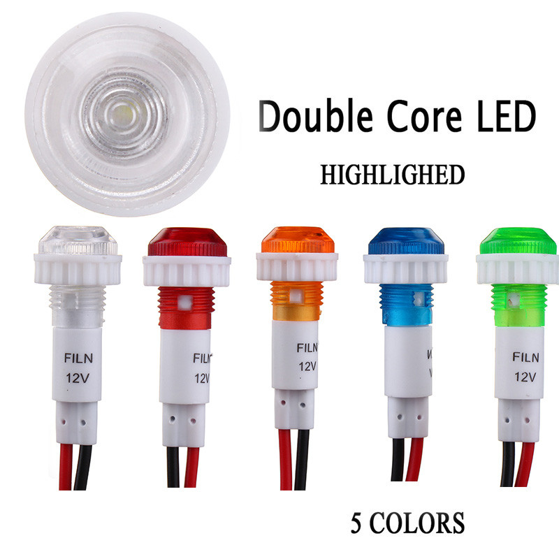 2x 12V 10mm Wired LED Indicator Signal Light Car Truck Yacht Boat Pilot Dashboard Panel Warning Lamp Red Yellow Blue Green White