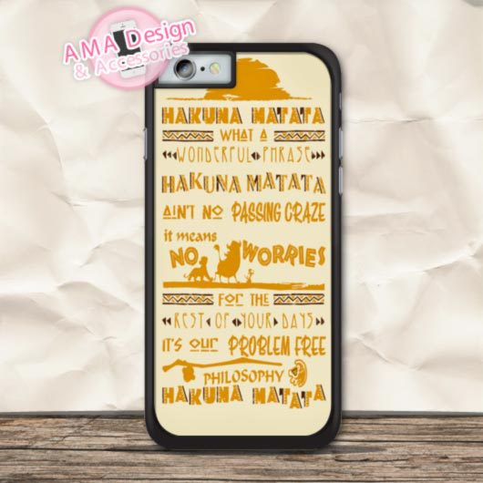 Hakuna Matata Friend No Worries Cover Case For iPhone X 8 7 6 6s Plus 5 5s SE 5c 4 4s For iPod Touch