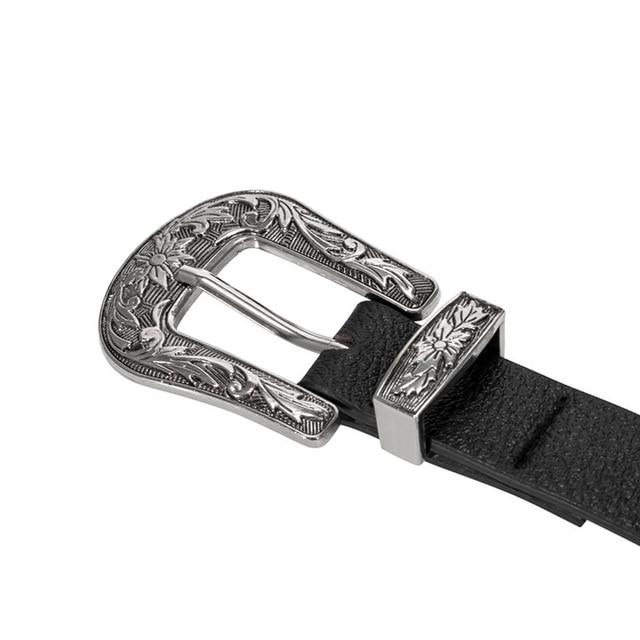 9a5e452b5991 Women waist belt Black Leather Western Cowgirl Waistband Silver Double  Metal Buckle Belt H9