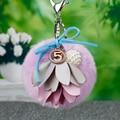 Mullido 15 Pompón De Piel Llavero 8 CM de Tela de Flores Coche de Color/Bolsa Pompones De Piel Llavero Llavero del encanto Porte Clef Pompón De Fourrure