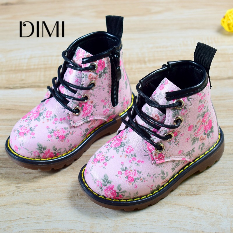 2019 Autumn Rubber Boots Baby Shoes Leather Children Boots 6 Colors Flower Comfortable Kids Shoes For Girls Boots Size 21-30