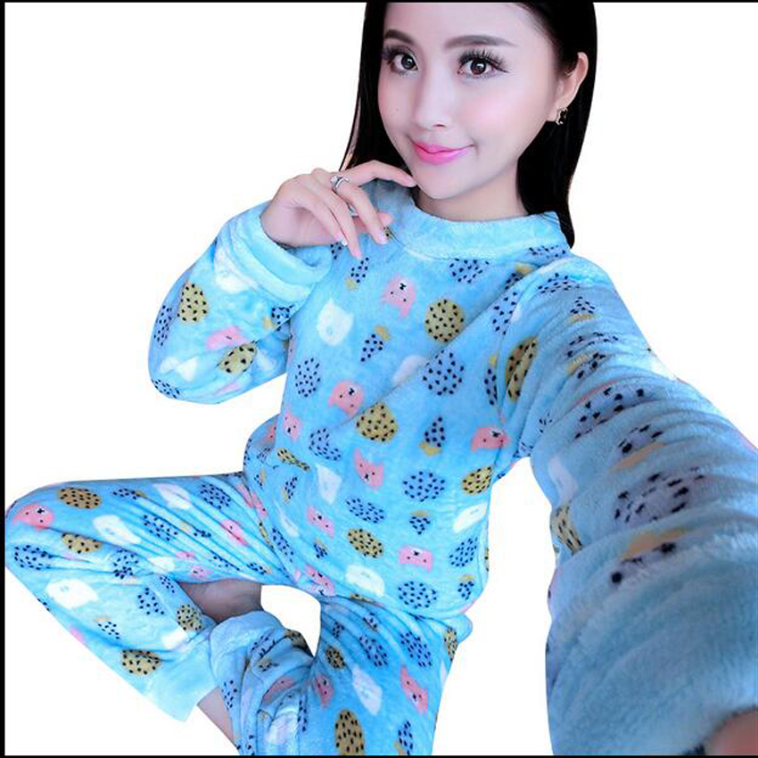 2017 Womens Pyjamas Long Sleeve O-Neck Flannel Pajamas Sets Warm Sleepwear Nightwear Hom ...