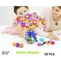 50pcs/set DIY Flower Bouquet Color Button Bouquet Toy Material Creative For childrens Handmade Gift