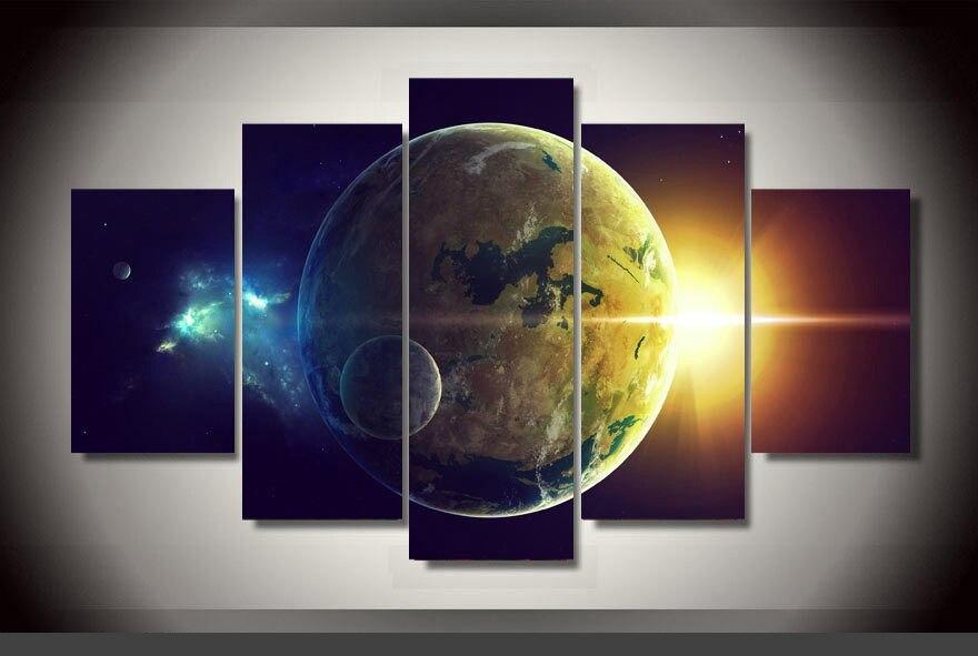 Originalité artistique intérieur Art abstrait intérieur décor B3 planète terre impression toile décoration 5 pièces