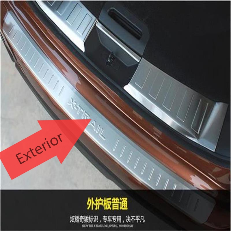 Fit For Nissan X-TRAIL Rogue T32 2014 2015 2016 Stainless Steel Exterior Rear Bumper Protector Sill Threshold Plate Car Styling rogue stainless steel rear bumper protector sill trunk guard cover trim for 2014 2016 nissan x trail x trail t32 car accessories