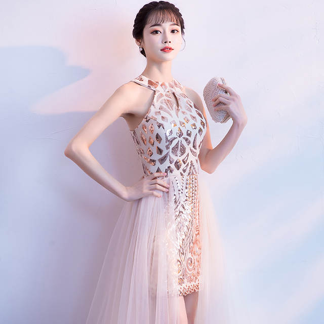 8e67c4873a166 US $64.59 15% OFF|Aswomoye 2018 New Stylish Long Evening Dress Bottom with  Net Inner Dress Sequined Party Dresses Sequin Prom Dress robe de soiree-in  ...