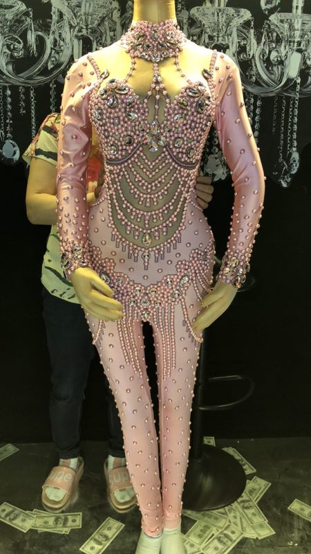 New Pink crystals sexy rhinestones Jumpsuits Female costumes performance show Leotard Singer Dance Nightclub stage bar slim star