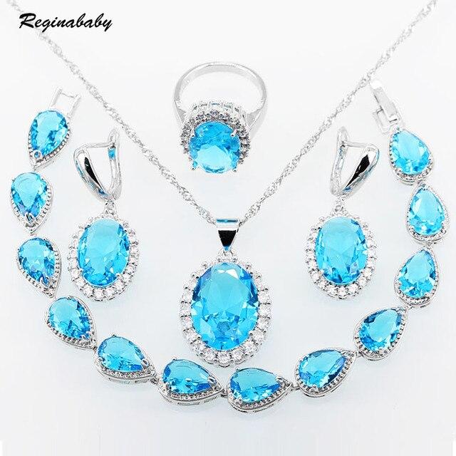 de5f2e276f64 Reginababy 925 logo azul cielo cristal blanco ZIRCON plata color Juegos de  joyería mujeres pulseras Pendientes