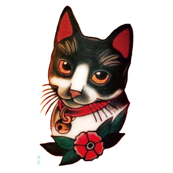 Old School Retro Cat Tatoo Cool Color Large Pattern Temporary Tattoo Stickers Tattoos Art For Young People