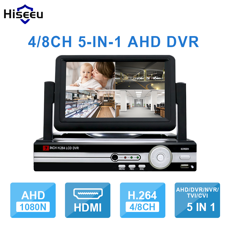 Hiseeu CCTV 4/8 Channel 1080N Digital Video Recorder 5IN1 with 7 LCD Screen Hybrid DVR HVR NVR 4CH Home Security System P2P