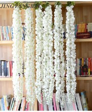 140cm 3head white Silk Wisteria Flowers Vine Hanging Artificial Plant Home Hotel Decor Garland Wedding Party decoration