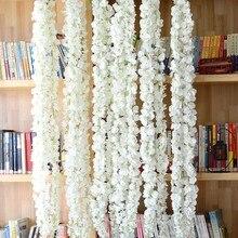 140cm 3head white Silk Wisteria Flowers Vine Hanging Artificial Plant Home Hotel