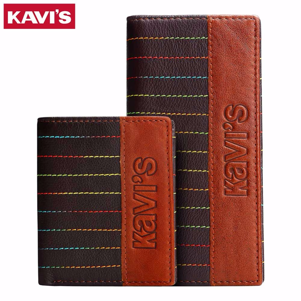 KAVIS Genuine Leather Men Wallets Long Luxury Brand New Design Brand Clutch Purse Wallet Cowhide Leather Man Day Clutches Bags