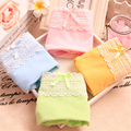 Girl Lovely Cotton Underwear Candy Colors Solid Lace Panties Low-Rise Girls Bow Breathable Teenage Lingerie Women Underpants