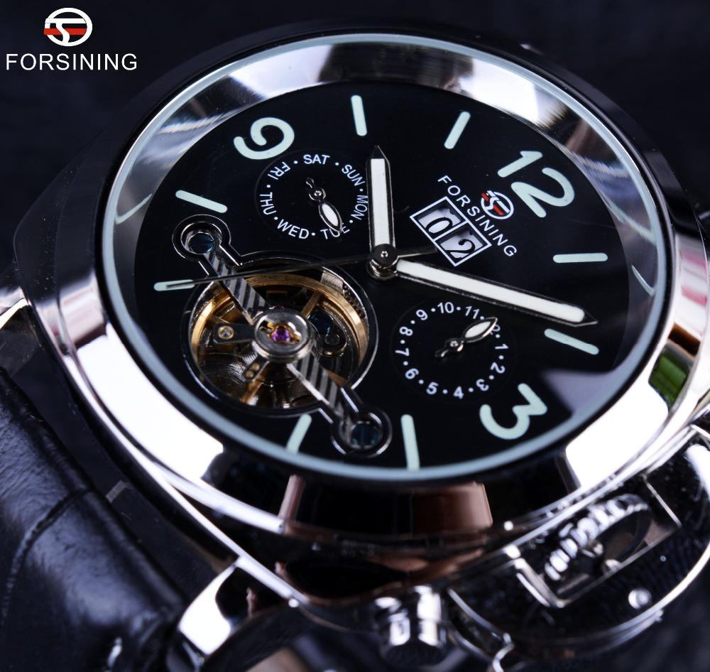 Prix pour Forsining Véritable En Cuir De Luxe Marque Design Hommes Montre Top Marque De Luxe Automatique Tourbillon Sport Casual Militaire Montre Horloge