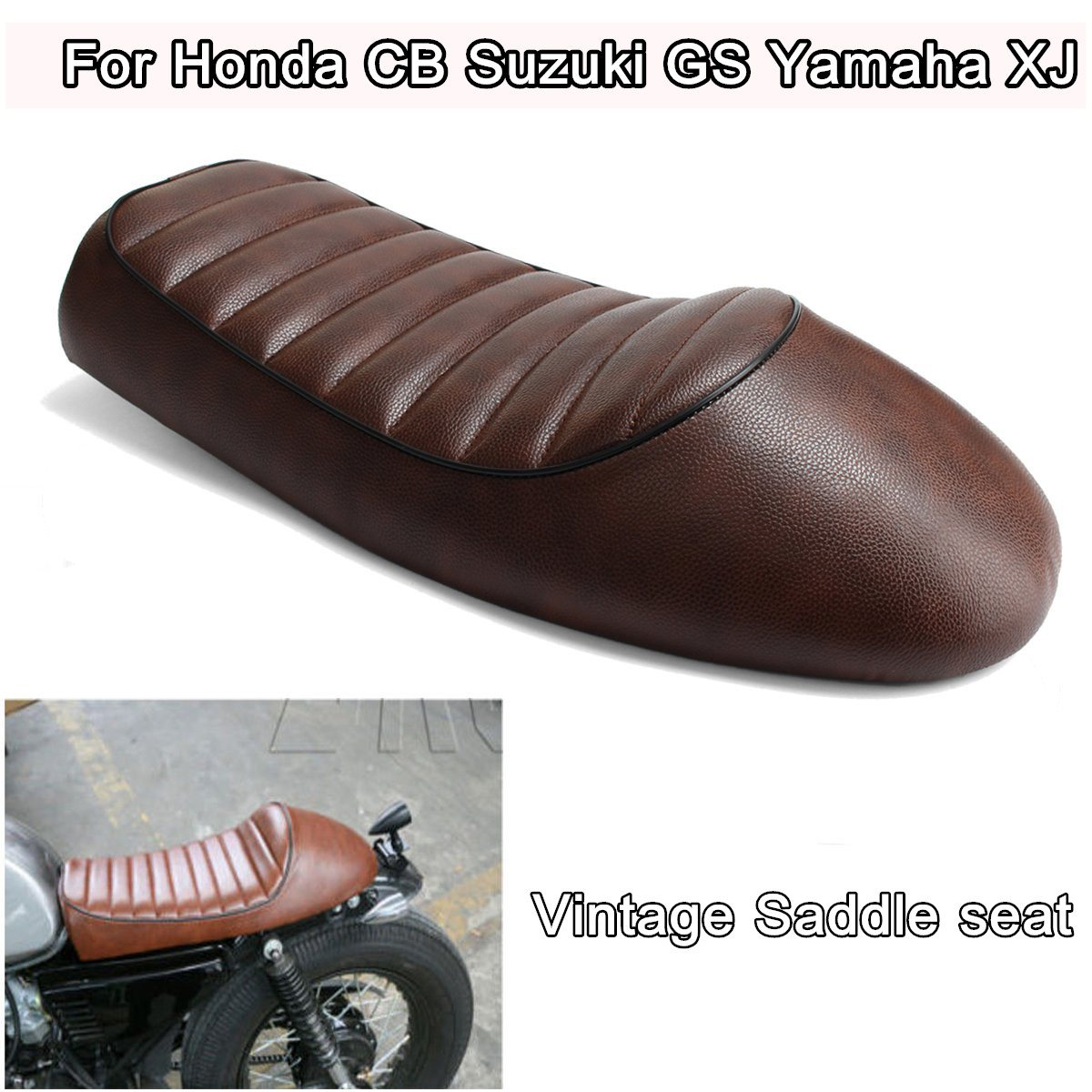 Brown Motorcycle Cafe Racer Seat Vintage Saddle For Honda CB Suzuki For GS For Yamaha XJ