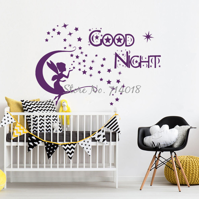 Wall Decals Quote Good Night Moon Star Fairy Vinyl Sticker Bedroom Nursery  Baby Room Home Decor