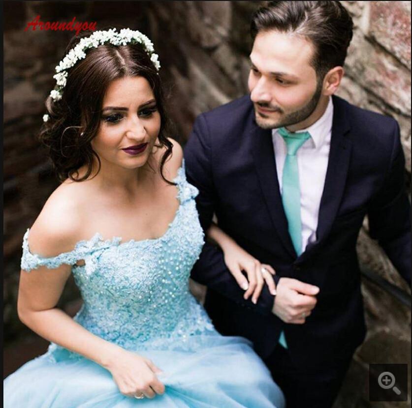 2019 nouveauté robe de bal bleue robe de bal robes de quinceanera hors de l'épaule col en v princesse douce 16 robes de bal meilleure vente