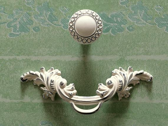 2 5 pull handles Shabby Chic Dresser Drawer Knob White Silver Rustic Kitchen Cabinet Handle Door