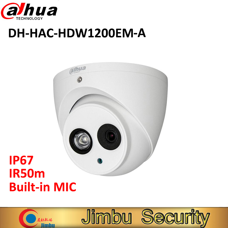 цены DAHUA HDCVI HAC-HDW1200EM-A 2MP DOME Camera built in mic CMOS 1080P IR 50M IP66 DH-HAC-HDW1200EMP-A security camera