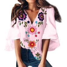 V Neck Flared Sleeves Embroidery Floral Chiffon Shirts Summer Plus Size Casual Loose Women Blouse Pink Street Womens Tops Blouse grey round neck flared sleeves blouse