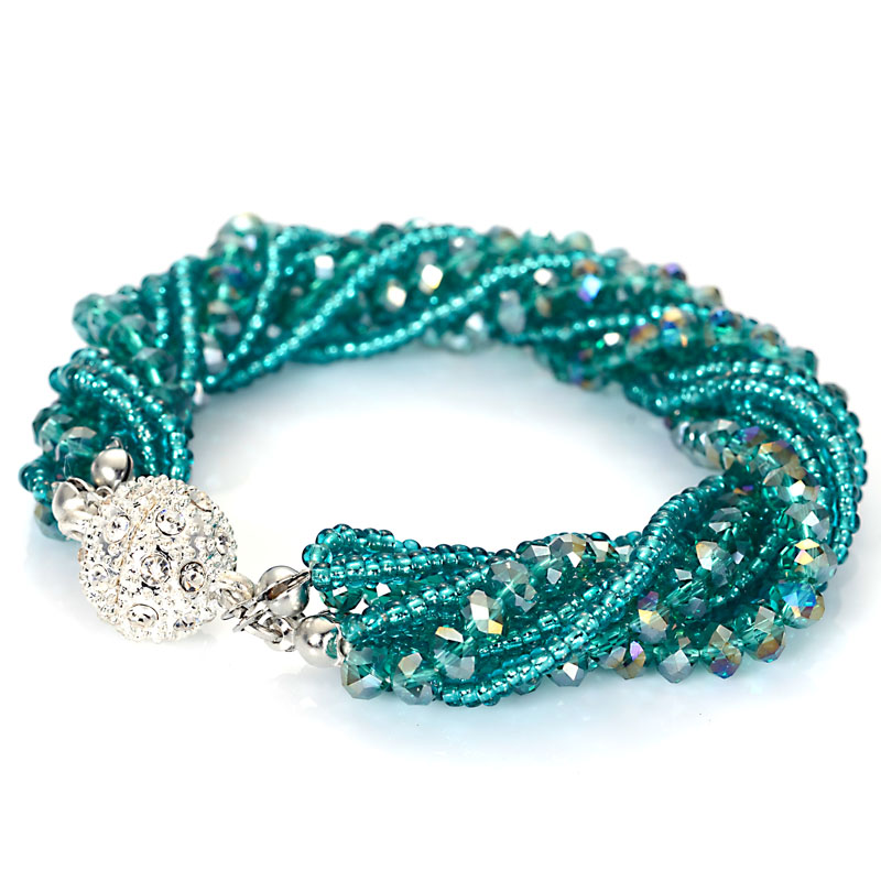 Miasol Fashion Multiple Layer Strands Crystal Seed Beads Charm Magnetic Bracelets Summer Jewelry B1470