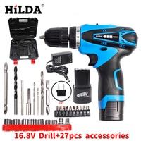HILDA 16 8V Electric Screwdriver Battery 2 Cordless Screwdriver Rechargeable Parafusadeira Furadeira Electric Drill Plastic Case
