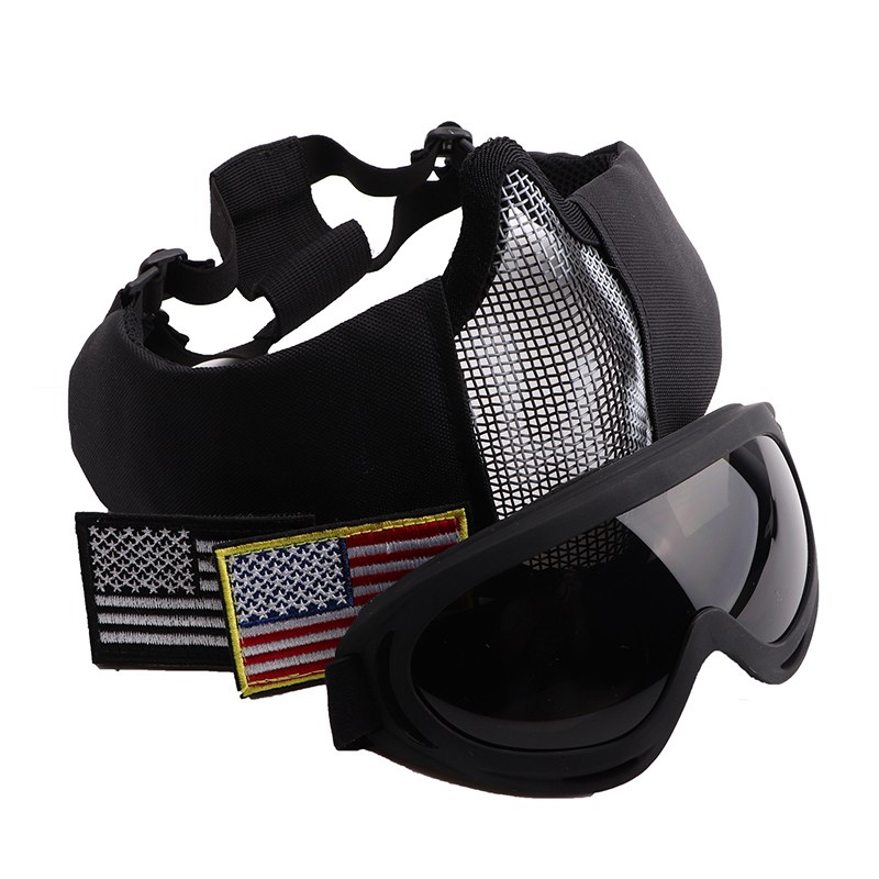 Tactical Half Face Helmet Goggles Set Lightweight Folding Shockproof Mouth Protector Eyewear Sports Accessories